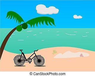 乗車, 自転車, 中に, 夏季休暇, 上に, 浜, vector.