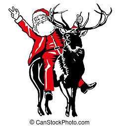 乗車, claus, 鹿, santa