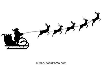 乗車, claus, santa, トナカイ, 馬具, sleigh