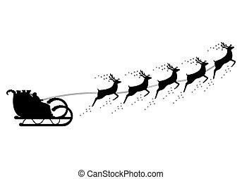 乗車, claus, santa, 馬具, sleigh