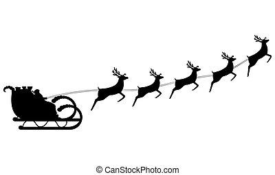 乗車, claus, sleigh, santa