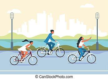 乗馬の自転車, 人々, 活動的, 都市, ライフスタイル, concept., bicycle., 漫画, 特徴, 健康...