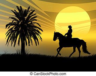 乗馬者, 中に, ∥, 日没