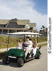 乗馬, ゴルフ, cart., 家族