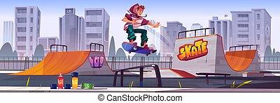 乗馬, スケート, 男の子, 公園, スケートボード