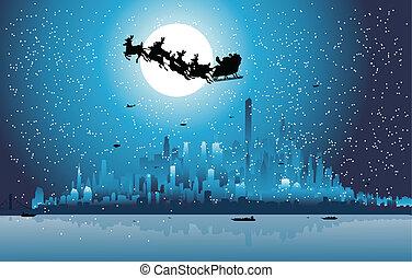 乗馬, 上に, claus, santa, 都市, 彼の, sleigh
