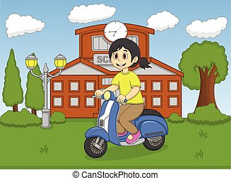 乗馬, 女の子, スクーター, 前部