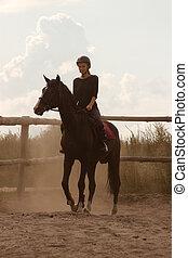 乗馬, 女の子, 列車