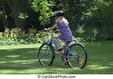 乗馬, 女の子, 自転車