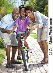 乗馬, 女の子, 自転車, 幸せ, アメリカ人, 家族, アフリカ, 親, &