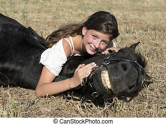 乗馬, 女の子, 若い