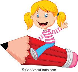 乗馬, 女の子, 飛行, 漫画, 鉛筆