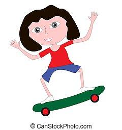乗馬, 女の子, skateboard.
