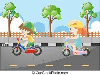 乗馬, 子供, 自転車, 2, 道