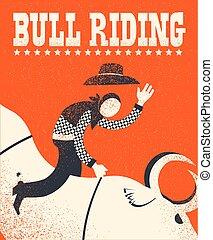 乗馬, 背景, アメリカ人, イラスト, chempion, poster., ベクトル, 赤, 雄牛