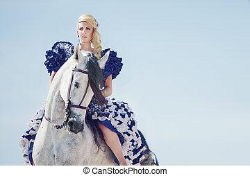 乗馬, 馬, ブロンド, 肖像画