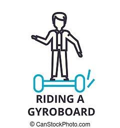 乗馬, a, gyroboard, 薄いライン, アイコン, 印, シンボル, illustation, 線である, 概念, ベクトル