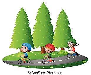 乗馬, bikin, 子供, 3, 道