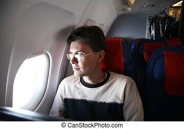 乘客, 在, the, 飛机
