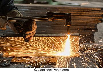 乙炔, 工人, 火炬, 金屬, 切, 銲接