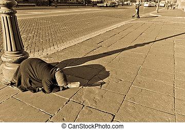 乞食, 路上で, の, ローマ