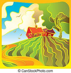 乡村的地形, 带, 房子
