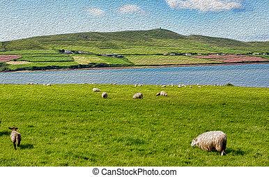 乡村, 农场, 风景