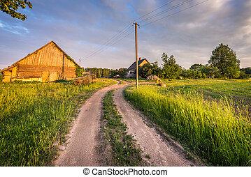 乡村, farmhouse., latvian, 风景。
