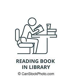 书, 符号, 学习, outline, 阅读, 人, 线性, 概念, 矢量, 签署, 线, 图书馆, 图标