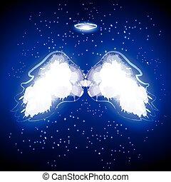 乱雲, 天使, 黒, 翼, バックグラウンド。