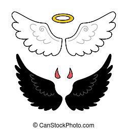 乱雲, 天使, wings., 黒, horns., demon., 白
