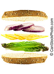 乳酪, 同时,, 洋葱, 层, 三明治