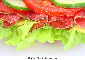 乳酪, 蔬菜, 三明治, 新鮮, 蒜味咸辣腸