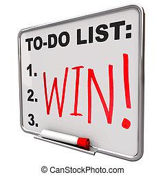 乾きなさい, するべきことのリスト, -, 消しなさい, 板, 勝利