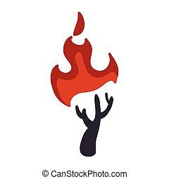 乾きなさい, グラフィック, 自然災害, 火, 木, ベクトル, icon., design.