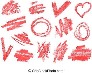 乾きなさい, 口紅, ストローク, set., 荒い, doodles, ブラシ, クレヨン