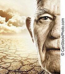 乾きなさい, 土地, 上に, 年配, 顔, 背景, 人, 砂漠