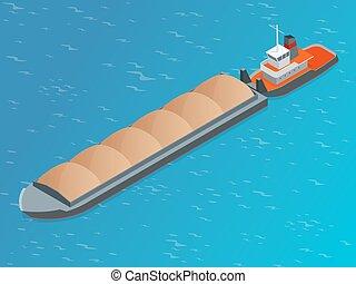 乾きなさい, 大部分, 等大, てんま船, 液体, 非常に, 大きい, ship., river., 取引しなさい, shipping., containerized, インターナショナル