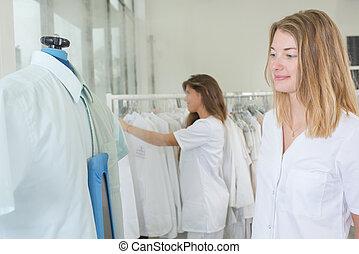 乾きなさい, 女, 洗濯物, 洗剤, 労働者, 肖像画