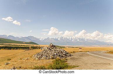 乾きなさい, 山, 草, 雪, 黄色, 氷, 高く, 範囲, 風景, 氷河, stepp, altai, siberia