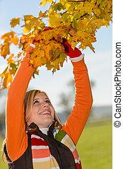 乾きなさい, 微笑, 葉, 木, 若い, 盗品, 女の子