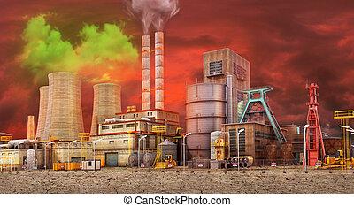 乾きなさい, 植物, 概念, pollution., 仕事, 空, planet., ground., イラスト, 環境, 汚い, 背景, を除けば, 3d
