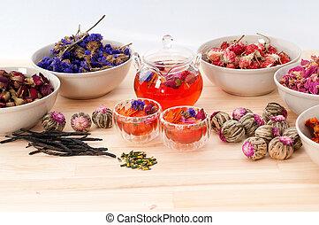 乾きなさい, 自然, お茶, 注入, 花, 草, 花