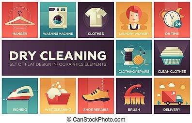 乾燥した平たい箱, セット, -, 要素, デザイン, 清掃, infographics