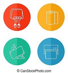 乾燥機, きれいにしなさい, 滞在, アイコン, タオル, 手, 石鹸, healthy:, 道具, ディスペンサー, ペーパー