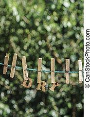 乾燥, 詞, 寫, 所作, 垂懸, 木制, 信件, 上, 繩子, 在, 花園