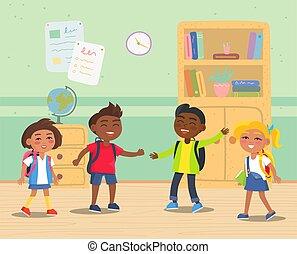 予備選挙, 子供, 学校, 教室, バックパック