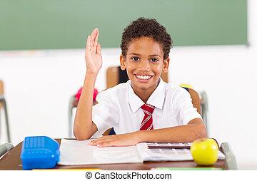 予備選挙, 男生徒, 手アップ, 中に, 教室