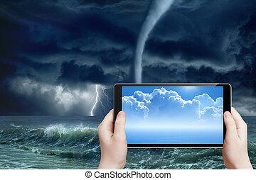 予報, augmented, 天候, 現実