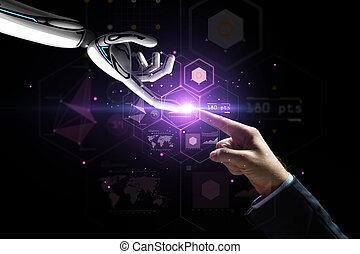 予測, 上に, ロボット, 事実上, 手, 人間